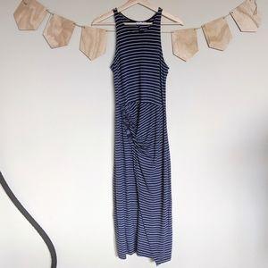 Gap Maxi Blue and White Stripe Dress Faux Wrap